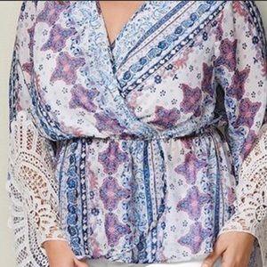 Faux wrap blouse 3X